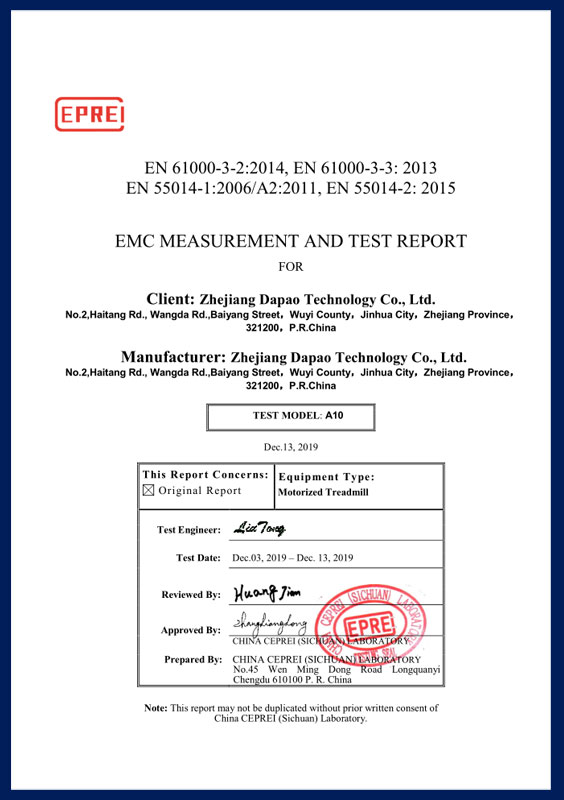EMC MEASUR EMENT AND TEST REPORT